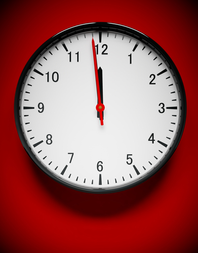 clock_on_red_background